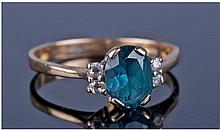 9ct Gold Diamond And Sapphire Cluster Ring,