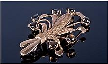 14ct Gold Floral Brooch, Set With Dark Polished