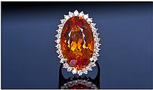 14ct Gold Diamond & Citrine Ring, Set With A Large