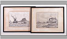 Pair Of Pencil Drawings. Circa 1940's. A view of