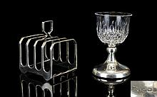 Elkington & Co - Nice Quality 4 Tier Silver Toast Rack. Hallmark Birmingham 1921, Maker Elkington & Co. 3.75 Inches High. 87.5 grams + A Small Silver Based Cut Glass Goblet of Good Form. Hallmark Birmingham 1921. Height 4 Inches. Both Items are In