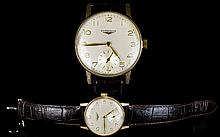 Longines - Gentleman's 9ct Rose Gold Mechanical Wrist Watch with Secondary Dial. c.1940's / 1950's - Please See Photo. Wonderful Quality & Working Order.