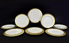 Royal Worcester Art Deco Period Set of 7 ( Seven ) Large Dinner Plates In The ' Patrician ' Pattern. No C1027, Date 1933. Wonderful Rich Gold Borders. Each Dinner Plate 10.5 Inches Diameter, Mint Condition + A Further Royal Worcester Set of ( 7 )