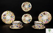 Hammersley Queen And Pattern Pair Of Breakfast Cups And Saucers with heavy acid gold borders. Wonderful quality. Also includes a pair of Hammersley matching plates, 8 inches diameter and a further pair of 6 inch diameter plates. All of wonderful