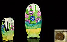 Clarice Cliff - Art Deco Hand Painted Bonjour Sugar Sifter ' Sandon ' Design, Bizarre Range. Date 1935. 5 Inches High. Excellent Condition.