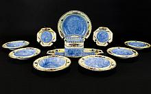 Art Deco Royal Winton Grimwades Chelsea Hand Painted Ware Part Tea Service With 'Cube' Teapot Eleven pieces in total in blue, pink and pearl lustre with gilt trim and floral patterning. Includes six bowls, one large serving bowl, two hexagonal