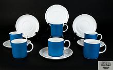 Susie Cooper Wedgwood Six Demitasse Coffee Cans Bone china espresso cups and matching saucers in 'Kingfisher' design, no. C2149. Matte Cerulean blue finish on white ground. All in very good condition, cup height, 2.5 inches.