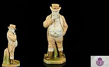 Royal Worcester Superb Figure of John Bull. Date 1895. Signed J. Haddley. 1st Quality & In Wonderful Condition. Stands 7 Inches High.