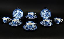 Royal Worcester Crown Ware 12 Piece Coffee Set, blue and white 'Willow' Pattern circa 1920's. Comprises 6 coffee cups and 6 saucers. All pieces free from damage.