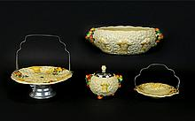 Clarice Cliff Art Deco Hand Painted Collection Of 1930's Celtic Harvest Pieces Four in total, comprises, large bowl, 3.75 inches in height, 8.5 inches diameter. Cake stand with chrome handle and base, 8.5 inches in height, also a preserves jar with