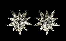 Butler And Wilson Vintage Crystal Set Compass Star Earrings Silver tone clip on statement earrings in the form of a ten point double star. The centres set with circular faceted crystal, the points set with faceted crystal of decreasing size. Very