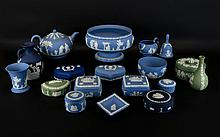 Collection of Wedgwood Jasper Ware 18 pieces in total including, pedestal bowl 8'' in diameter, 2 handled urn 6.5'' in height, various trinket pots, tea pot, bud vase & bell etc... all decorated with typical classical decoration.