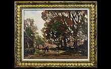 Herbert Royle (1870-1958) A Country Lane with a man leading a horse. Oil on canvas. 14'' x 18''. Signed