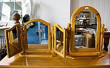 Two Pine Framed Dressing Table Mirrors Table top vanity mirrors of plain form. Good condition