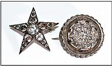 Silver Paste Set Star Brooch. Together with a