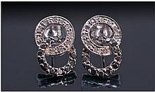 9ct White Gold Black And White Diamond Earrings,