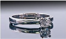 Ladies 9ct White Gold Set Single Stone Diamond