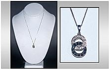 9ct White Gold Black And White Pendant, with