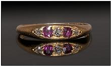 18ct Gold Diamond And Ruby Ring, Set With
