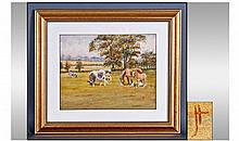 Monogram JH Watercolour. Cattle in a field close