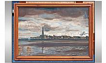 Unusual Oil Painting On Panel Of Blackpool At
