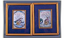 Indian Pietures Pair Portraits, Depicting A Seated