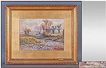 Victorian Watercolour, Countryside scene with