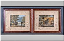 Pair Of Signed Louie Stern Oils On Board. Each