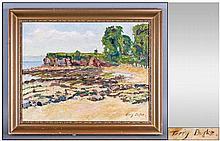 Terry Burke Coastal Landscape, Oil On Board,