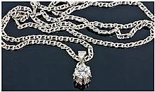 18ct White Gold Set Single Stone Diamond Pendant