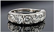 18ct White Gold Set Half Hoop Diamond Ring,