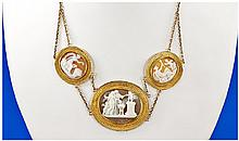 Victorian Finely Carved Shell Cameo Necklace,