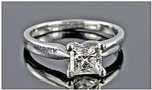 Platinum Set And Single Stone Diamond Ring. The