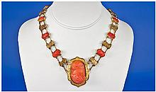 Victorian Red Coral Cameo Fringe Necklace, Made Up
