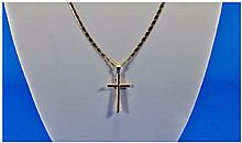 18ct Gold Cross and Chain. Marked 750, as new