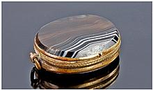 Early 20thC Gilt Metal Double Sided Agate Locket,