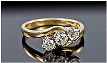 18ct Gold Diamond Ring, Set With Three Round Cut