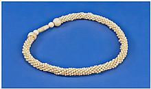Ivory Bead Necklace, Length 16 Inches, Early 20thC