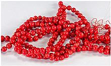 Four Strands Of Red Coral Beads, Length 16 Inches,