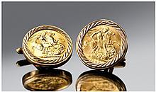 Elizabeth II 22 Carat Gold Pair of Full Sovereign