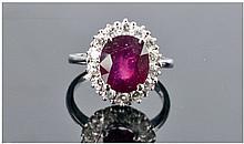 A Good Quality 14ct White Gold Set Ruby & Diamond