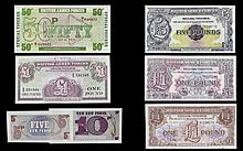 An Excellent Collection of British Armed Forces Serial Vouchers (6) in total. All in uncirculated condition. 1. British Armed Forces 5 pounds note, 2nd series date 1948. serial number EE1 - 188776 2. British Armed Forces Special Voucher one pound