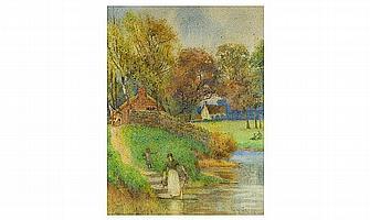 Percy Brook , British Painter fl 1894-1916. Woman