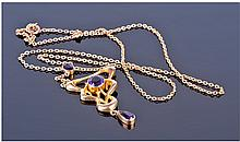 9ct Gold Art Nouveau Amethyst Set Pendant Drop,