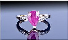 9ct Gold Ruby And Diamond Ring Set with a pear cut