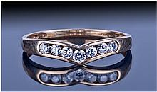 9ct Gold Half Eternity Ring. Set with CZ stones.