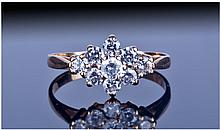 9ct Gold CZ cluster Ring, Fully Hallmarked, Ring