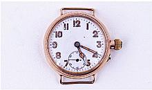 9ct Gold Swiss Made Trench Watch, White Enamelled