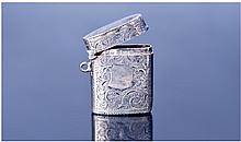 Small Silver Vesta Case. Engine turned floral