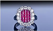 18ct White Gold Set Ruby and Diamond Cluster Ring,